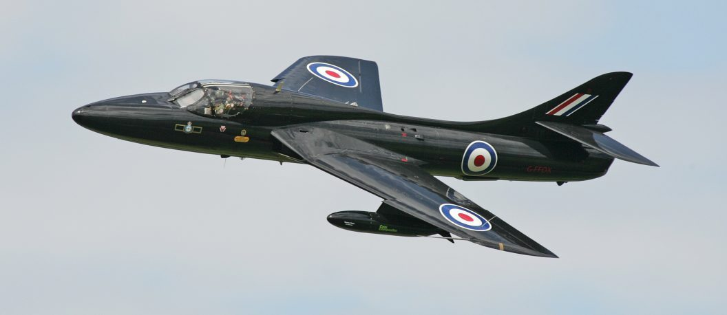 A Grey Hawker Hunter T.7 Airplane