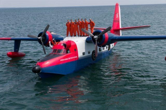 Grumman HU-16 Albatross Aircraft in the water.