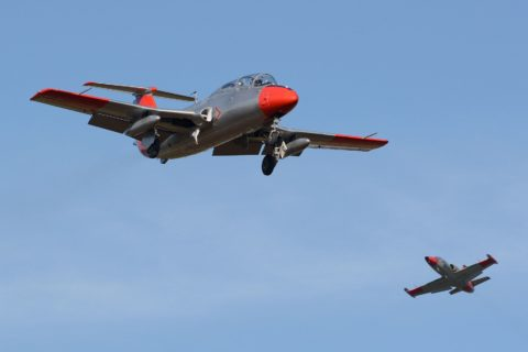 Two grey and red L-29 aircraft in the sky.