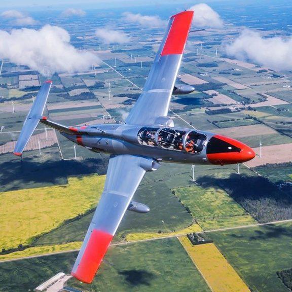 ITPS L-29 flying over open farm fields in London, Ontario.