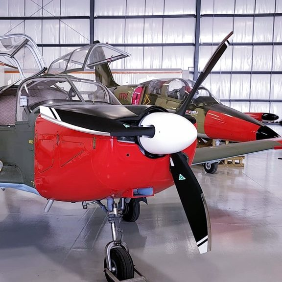Close up of red and black IAR 832 Barsov next to a L-39. Both in hanger.