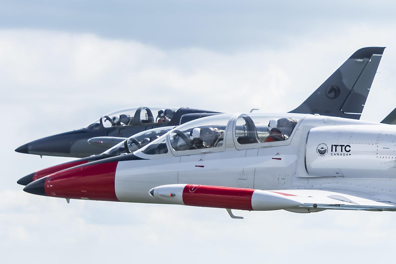 Two Aero Vodochody L39 aircraft in the sky.