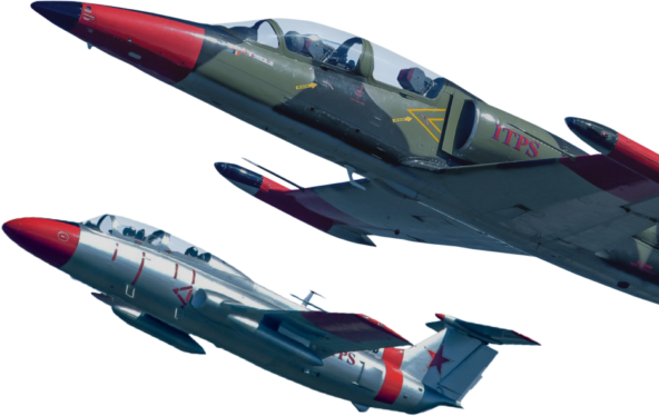 Two Aero-Vodochody aircraft, a grey and red L29 and a green L39