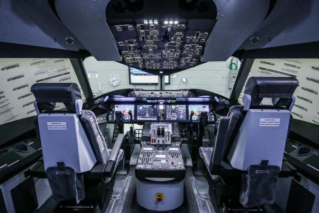 B787 aircraft simulator at International Tactical Training Centre.