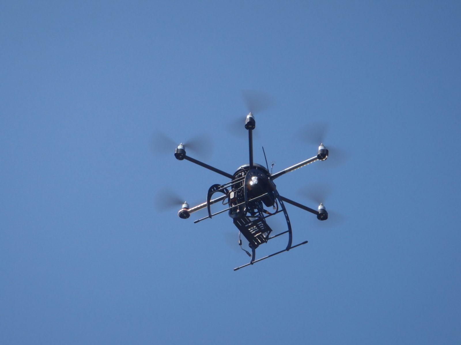 A UAS flying in sky.