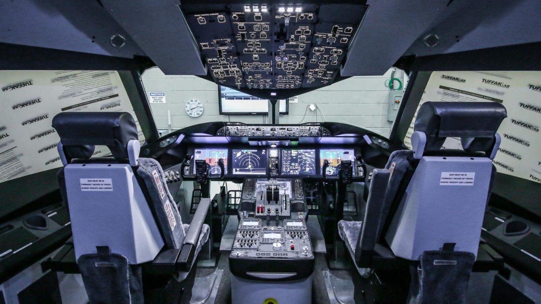 B787 simulator cockpit.