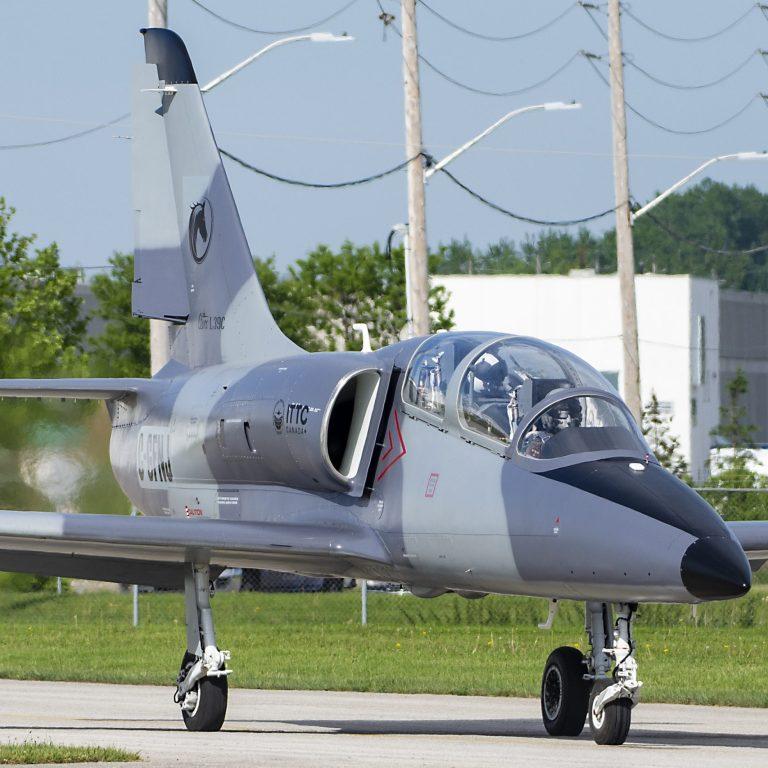 Grey L39 on ramp at International Test Pilots School